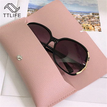 TTLIFE Portable Leather Glasses Case Women Foldable Eyewear Box Oversize Sunglasses Bag Storage Fashion Accessories marble foldable glasses box
