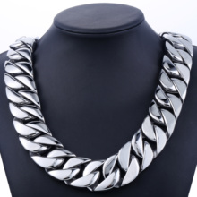 31mm 316L Stainless Steel Mens Boys Super Heavy Silver Color Chain Curb Necklace Wholesale Gift Jewelry LHN35