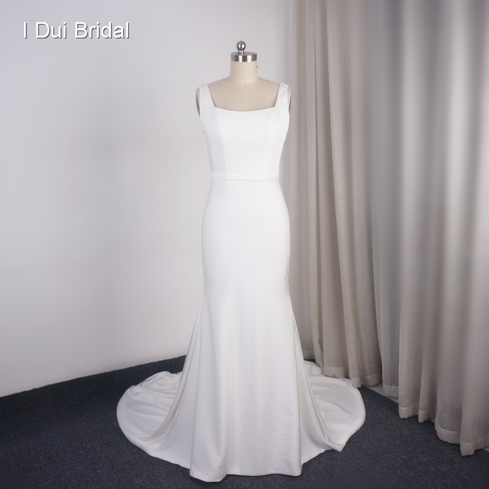 Simple Sheath Wedding Dress Crepe Sequare Neck Bridal Gown Factory Custom Made