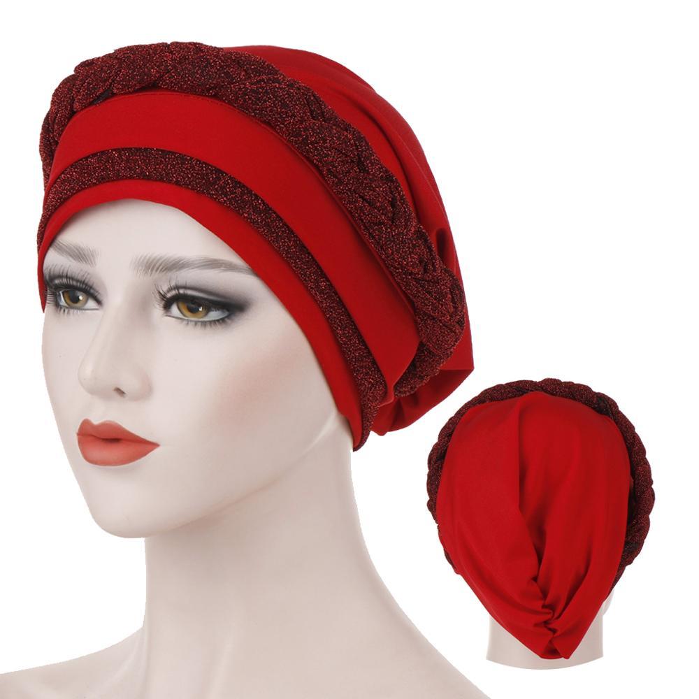 2020 New Design Two-tone Fashion Muslim Turban Bonnet Ready To Wear Inner Hijabs Islamic Wraps Women Head Scarf Hijab Caps