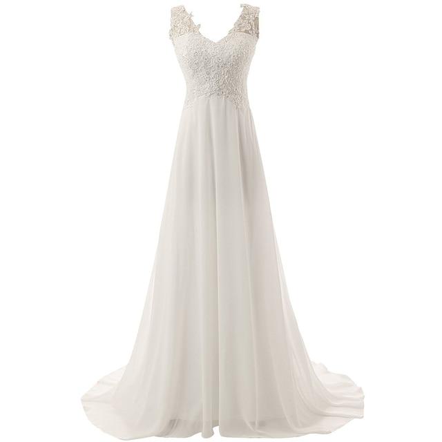 New Romantic Summer Bridal Dress Fluid feel Chiffon Sleeveless Lace Deep V-Neck Adjustable Plus Size Wedding Dress 2