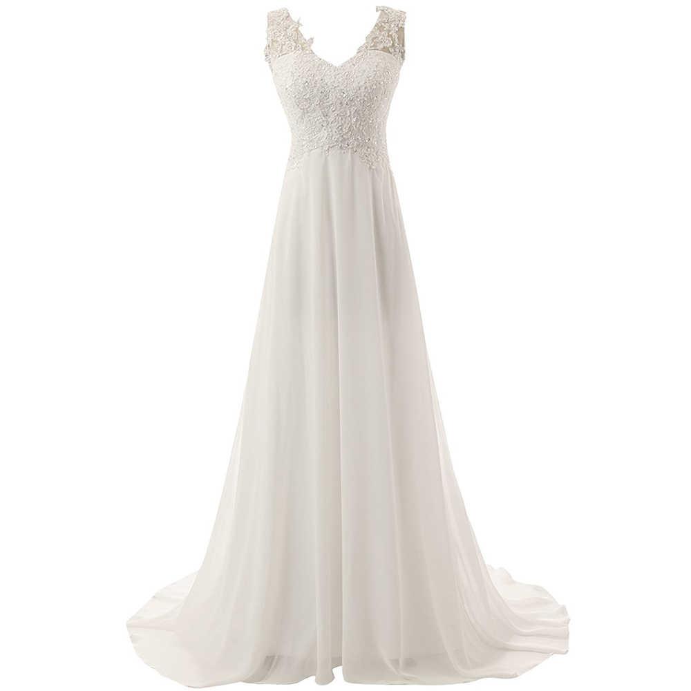 Novo verão romântico vestido de noiva fluido sentir chiffon sem mangas rendas profundo v-neck ajustável plus size vestido de casamento