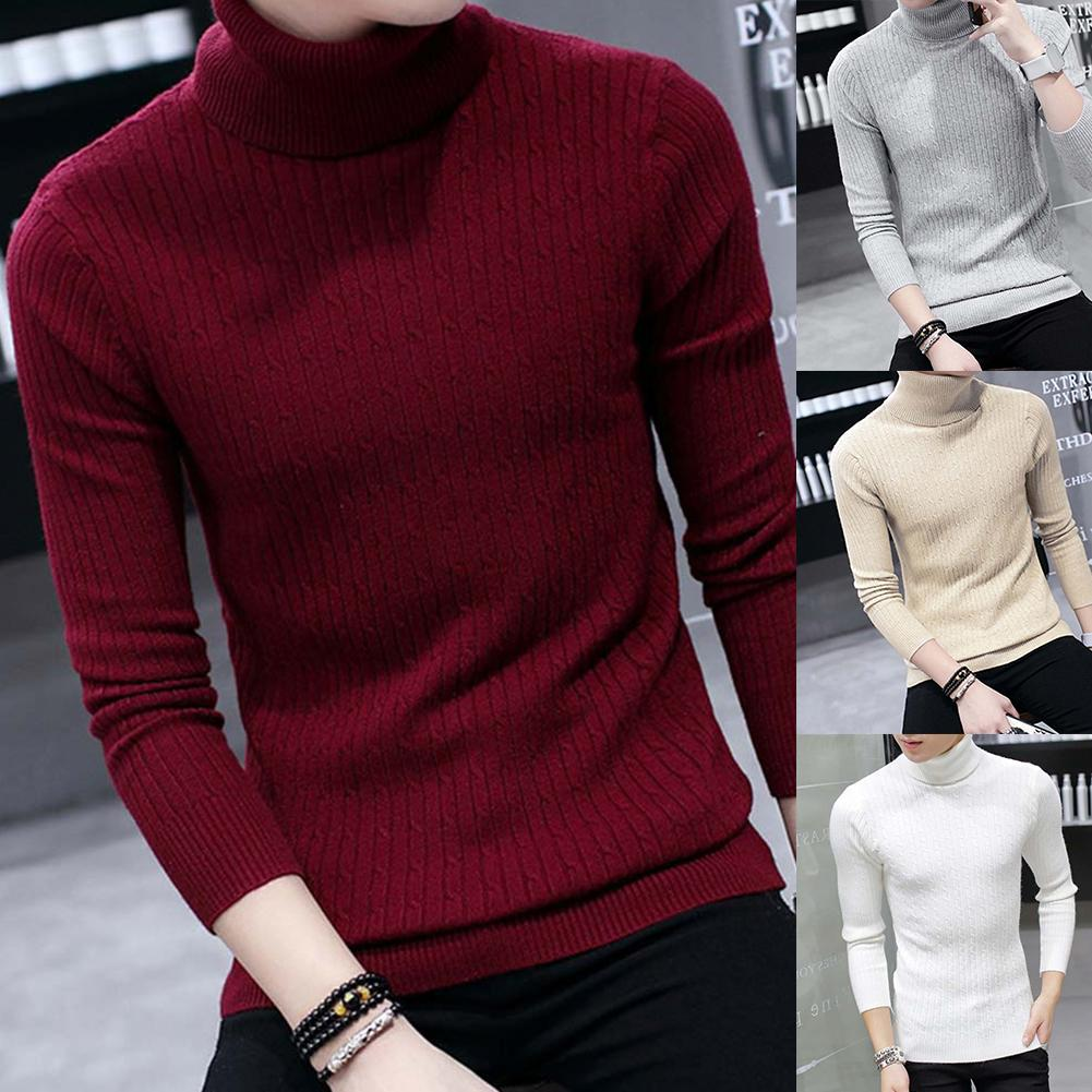 Men Sweaters Thicken Warm Turtleneck Men'S Sweater Knitted Pullovers Solid Color Long Sleeve Knitted Sweater Pullover  Top