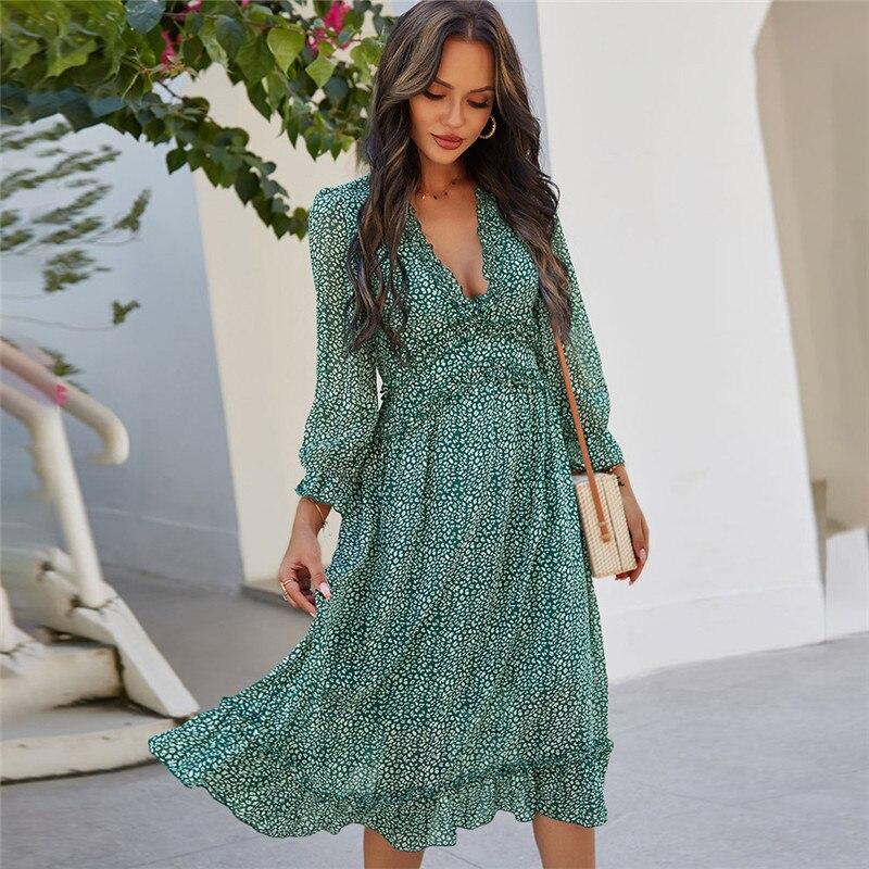 2021 Spring Sexy V Neck Print Bohemian Dress Women Casual Butterfly Sleeve High Waist  Dress for Women Summer Chiffon Dress
