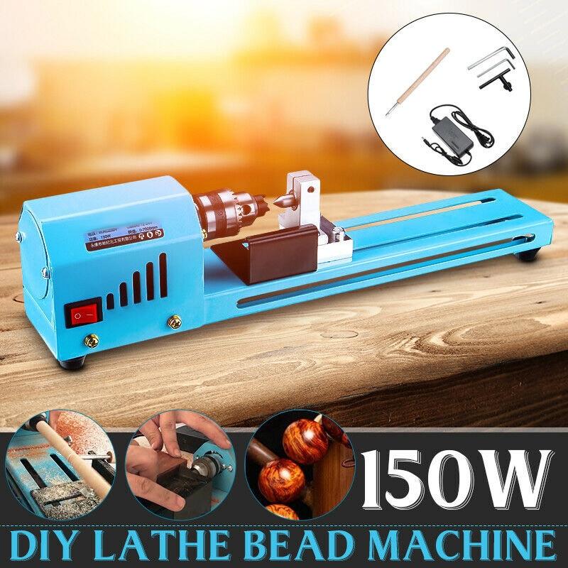 Mini DIY 150W Holz Drehmaschine Perle Schneiden Maschine Schleifen Bohrer Polieren Holzbearbeitung Werkzeug J8 #3