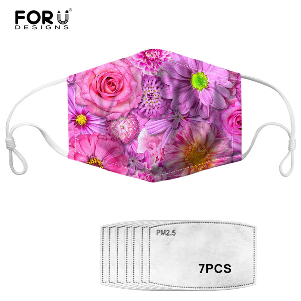 FORUDESIGN Floral Style Mask 2020 Fashion Flower Printing Reusable Women Face Mouth Cover Masque Non-disposable Dustproof Masks
