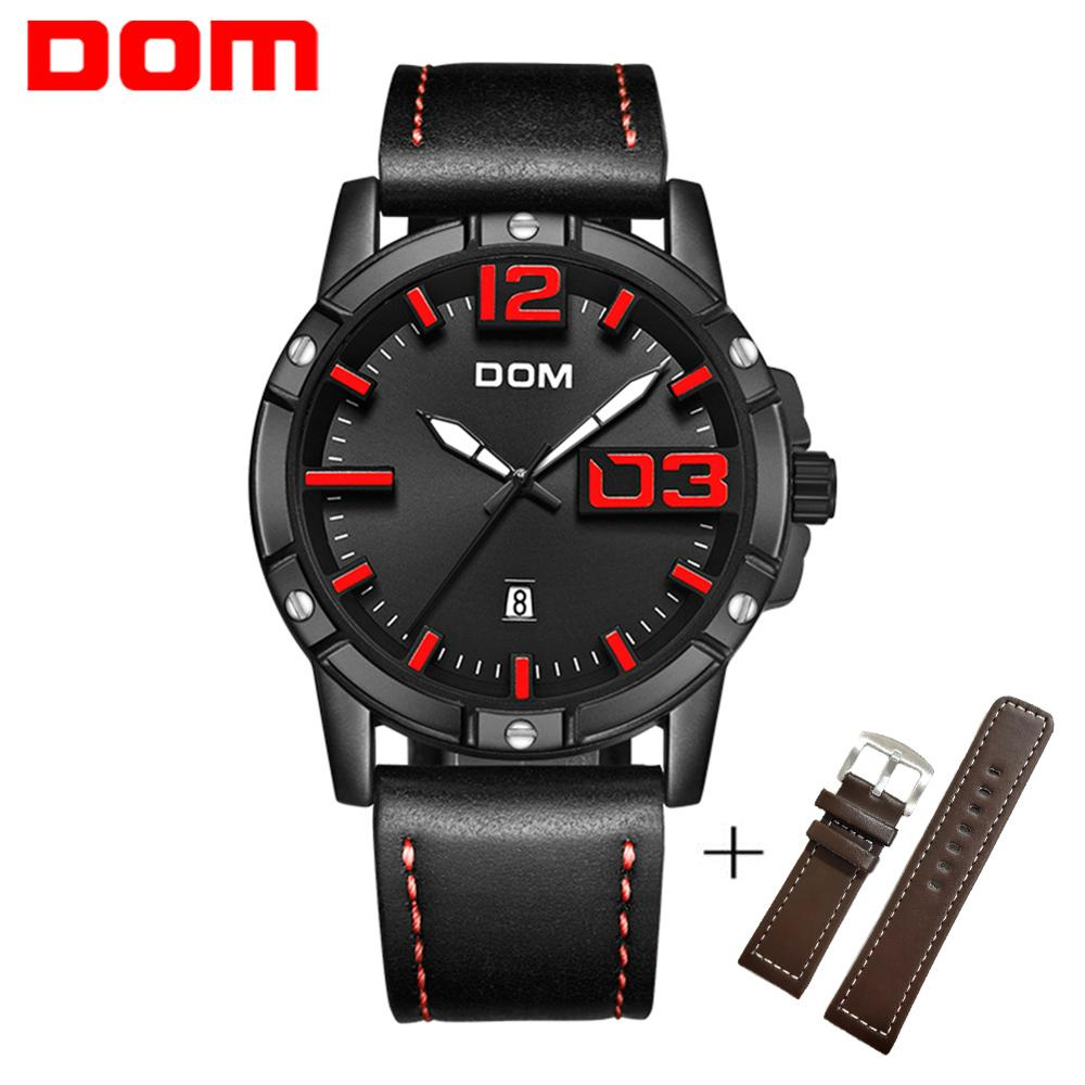 DOM New Fashion Mens Watches Top Brand Luxury Big Dial Military Quartz Watch Leather Waterproof Sport Luminous Watch Men M-1218