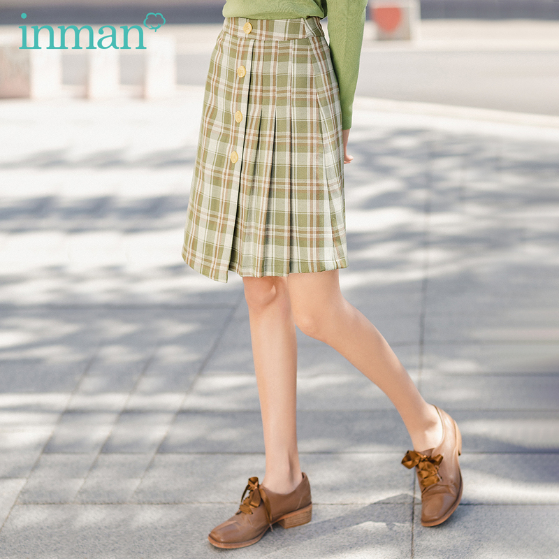 INMAN Plaid Women Skirt 2020 Spring New Arrival Artsy Vintage Retro Contrast Color A Line Irregular Pleated Skirt
