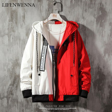 LIFENWENNA Color Block Jacket Men Autumn Fashion Letter Patchwork Hip Hop Tracksuits Mens Casual Hooded Windbreak Streetwear 5XL(China)