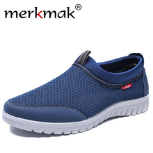 Merkmak Men Mesh Shoes Breathable Summer Flats Fashion Slip-on Men Casu