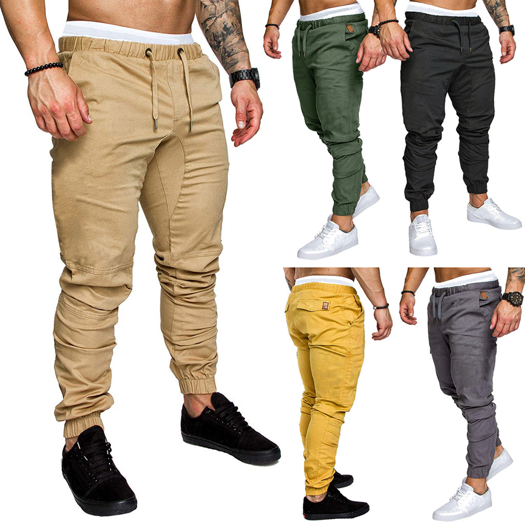 Brand Pants Men Casual Elastic Fashion Men's Casual Outdoors Solid Multi-pocket Work Trouser Cargo Long Pants New Casual Pants