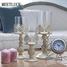 Vintage San Valentín Decoración de casa decoración de boda romántica blanco vela alto de vidrio candelabros de artesanías de Metal 1 Uds