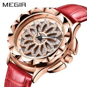 Image 1 - Роскошные женские часы MEGIR, модные кварцевые часы с вращающимся циферблатом, красные кожаные Наручные часы для влюбленных девушек, Relogio Feminino