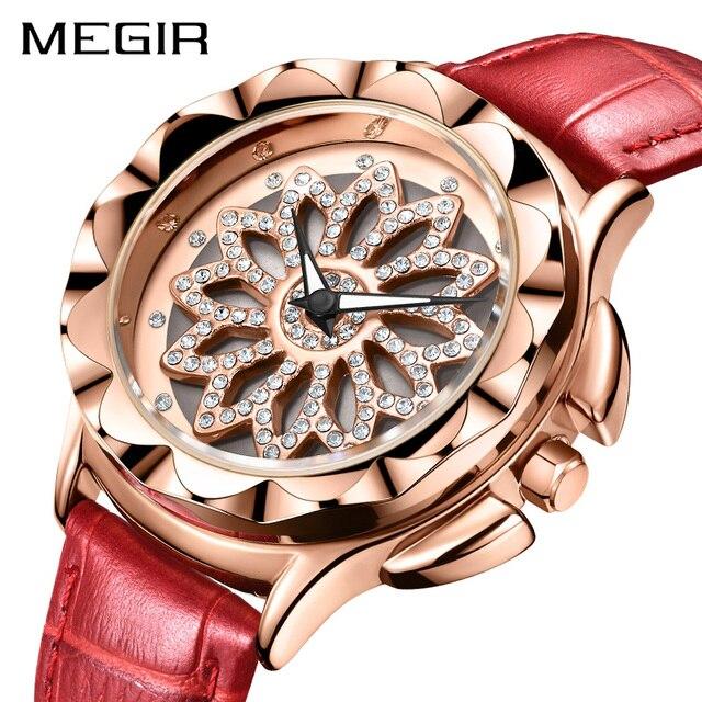 Роскошные женские часы MEGIR, модные кварцевые часы с вращающимся циферблатом, красные кожаные Наручные часы для влюбленных девушек, Relogio Feminino