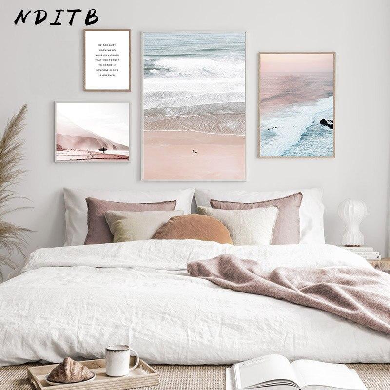 Okyanus dalgaları manzara tuval boyama günbatımı deniz plaj Poster baskı Nordic duvar sanatı dekorasyon resim sanat Modern ev dekor