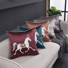 Luxurious European Jacquard Pillow Cover Simple Horse Pattern Home Decoration Cushion Cover Couch Throw Pillow Case 45x45 цены