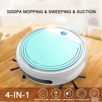 Smart Robot Vacuum Cleaner Fully Automatic 4-in-1 1200pa USB Charging Sweeping Dry and Wet Mop UV Disinfection - discount item  52% OFF Household Appliances