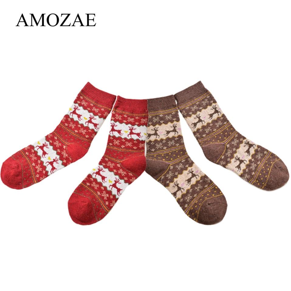 2Pairs/lot Winter Women Socks Keep Warm Christmas Gift Mid-calf Socks Snowflake Deer Comfortable Soft Sokken Calcetines Mujer