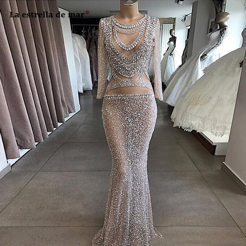 Elegant Luxury Beaded Silver Mermaid Evening Dresses Evening Wear 2020 Lace Formal Sequined Long Sleeve Prom Party Gowns Vestido