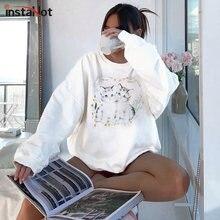 InstaHot-Sudadera de algodón con capucha para mujer, Jersey holgado informal con estampado de gatos, cuello redondo, color blanco, Otoño e Invierno