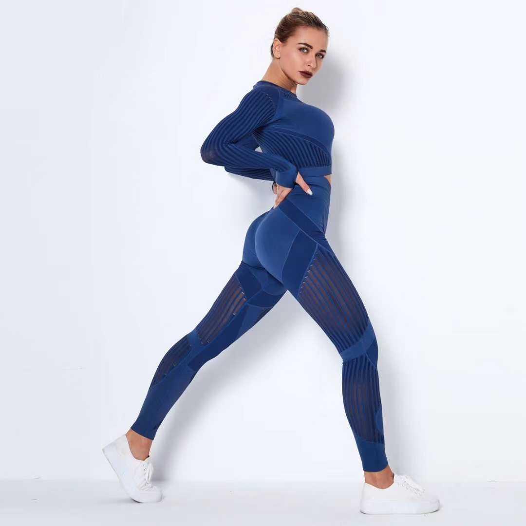 を女性のシームレスセットハイウエストジムメッシュレギンスシャツスーツ長袖フィットネス実行薄型スポーツセット