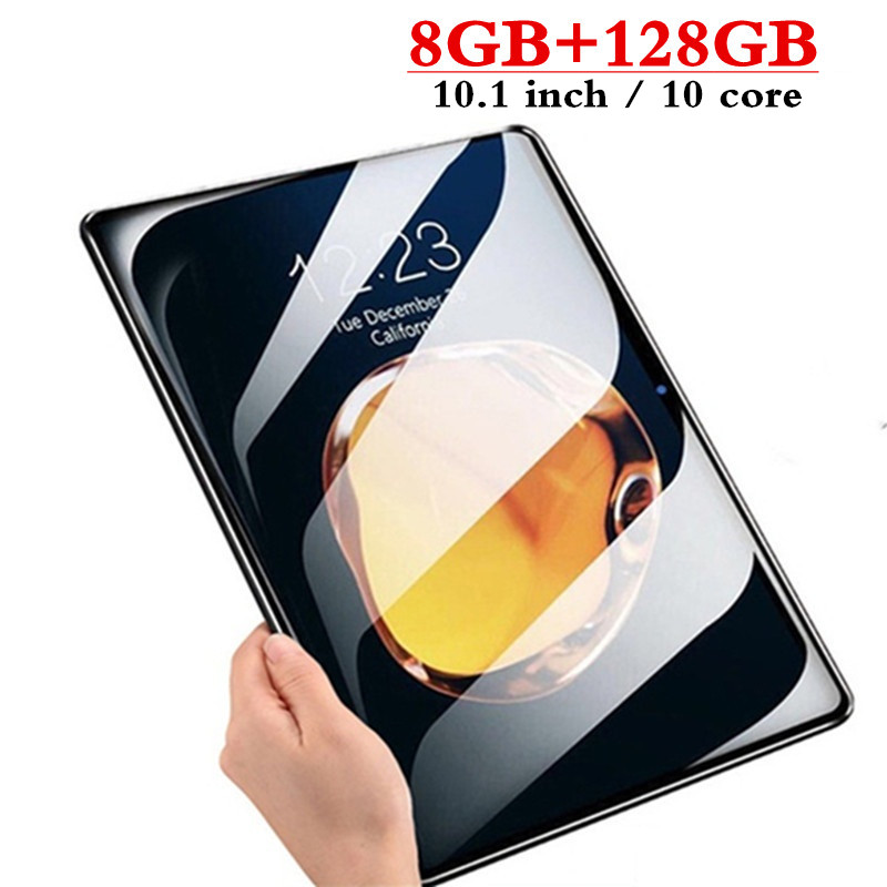 10.1 Inch 3G 4G LTE Dual SIM Card 8GB Ram + 128GB Rom 2.5D Screen Tablet PC 10 Core Tablets Android 7.0 Bluetooth GPS FM