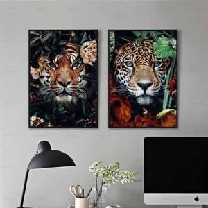 Креативный милый животный Тигр постер диван в нордическом стиле для гостиной современное минималистичное настенное украшение с рисунком сердечника|Рисование и каллиграфия|   | АлиЭкспресс