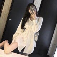 Concise High Waist Shirtdress Instagram Fashion Streetwear Hipster Vogue Slim Office Lady Elegant Casual Dress Summer2019