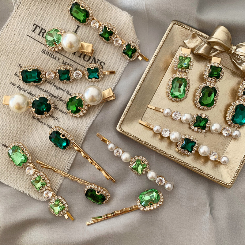 1PCS Korea Vintage Emerald Hairpins Geometrical Rhinestones Hair Clips For Women Girls Hair Accessories Barrette 2020 New