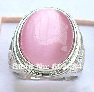 สวยเงินสีชมพูโอปอลแหวนขนาด: 8.9.10 และของขวัญ/จัดส่งฟรี 1Pcs