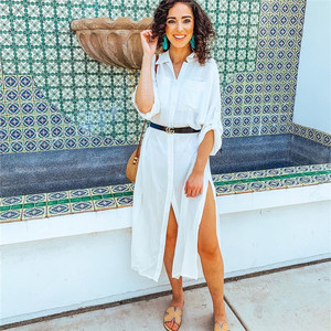 Image 5 - 2020 Summer Women Plus Size Beachwear Cover ups White Cotton Tunic Beach Wrap Bath Dress Swim Suit Bikini Cover Up Woman #Q717