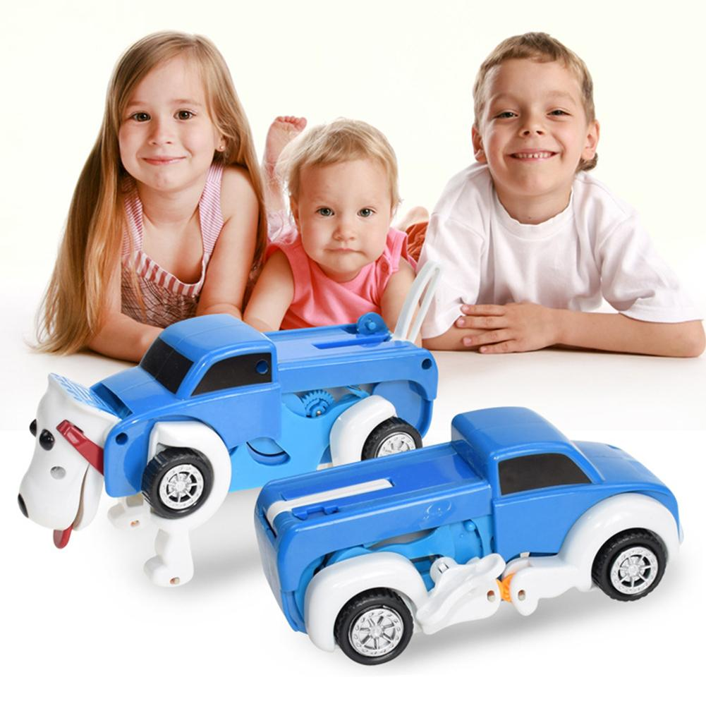 Cool Boy Toy Transformer Car Novelty Clockwork Dog Deformable Transform Car Toy Automatic Birthday Kids Gift