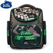 цена на Delune School Bacpack Bags For Boys Kids Cartoon Tank Pattern Backpacks Children Orthopedic Backpacks Primary