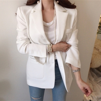 Ailegogo New 2020 Autumn Winter Women's Blazers Casual Buttons Pockets Jackets Notched Vintage Oversize Wild Lady Tops JK1302 1