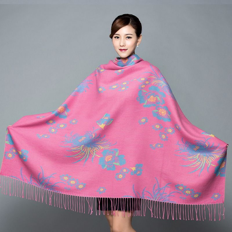 Chinese Knot Square Scarf Double-sided Warmth Imitation Cashmere Scarf Ethnic Style Autumn And Winter Thickened Female Shawl