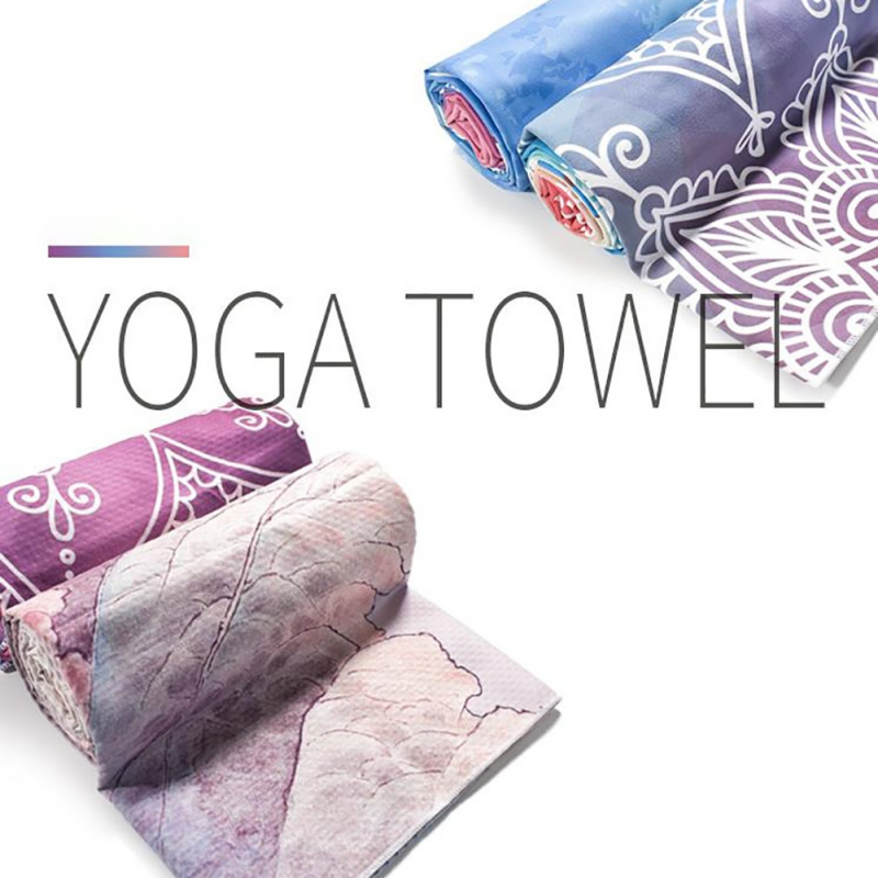 Printed Yoga Mat Towel Microfiber AbsorbSweat Yoga Towel Silica Gel Non-slip Goodgrip  Yoga Blanket Pilates Mat Cover 183*65cm