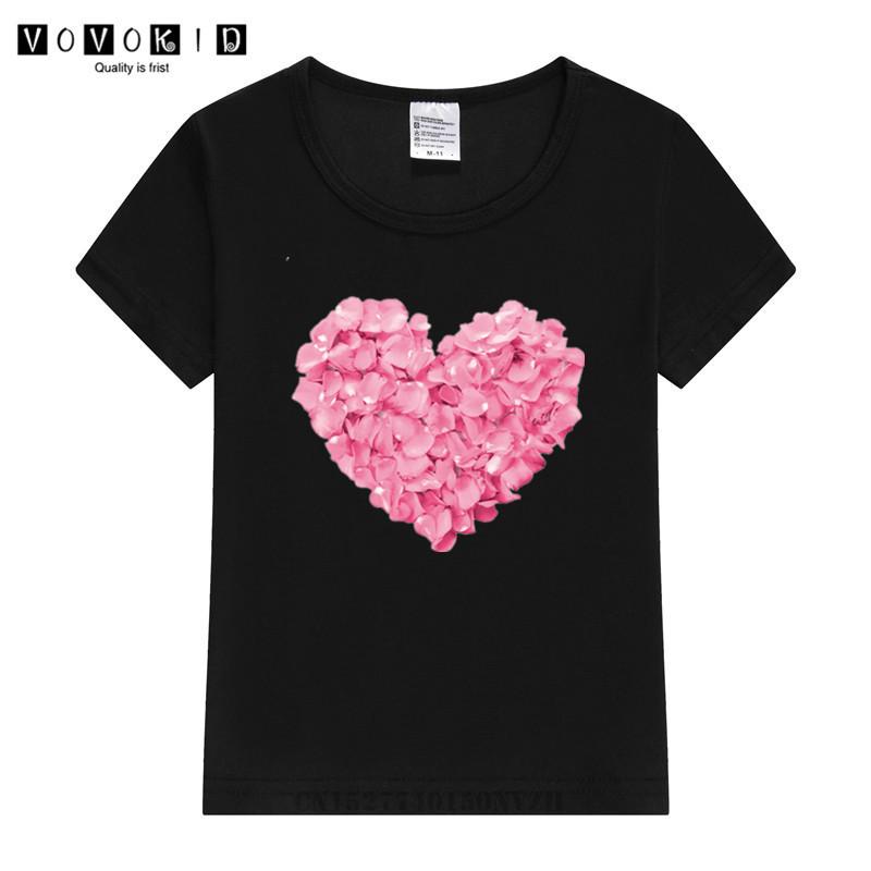 Girl 2020 Funny Flower Heart Harajuku T Shirt Kid Summer Cute Graphic Tee Shirt Children Funny Tops Kawaii Streetwear