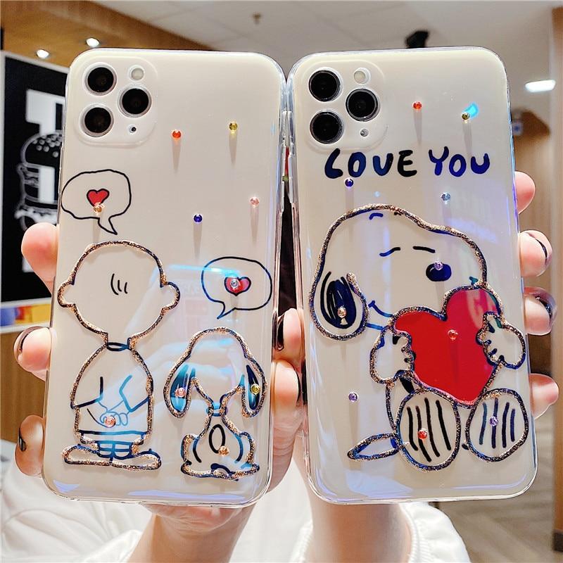 Cartoon Peanuts Charlie Beagle Dog Fancy Diamond TPU Phone Case For Iphone 11 12 Pro