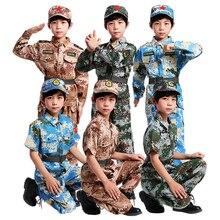 Камуфляжная одежда для мальчиков, детская армейская Униформа спецназа, костюмы для сцены, топ+ штаны+ ремень+ шапка, комплект, 110-160 см