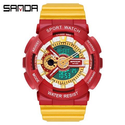 Relógio de Pulso Masculino à Prova Água do Esporte Eletrônico dos Homens Nova Multifuncional Dwaterproof Mulher Silicone Grande Dial Relógio Relógios Femininos 2020