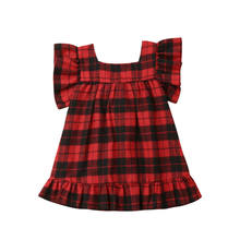2019 New Fashion red Plaid dress for Kids Baby Girls Princess Party short sleeve mini Bow Dress Sundress Clothes(China)