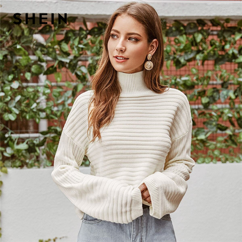 SHEIN White Solid High Neck Drop Shoulder Winter Sweater Women Tops 2019 Autumn Highstreet Long Sleeve Basic Casual Sweaters