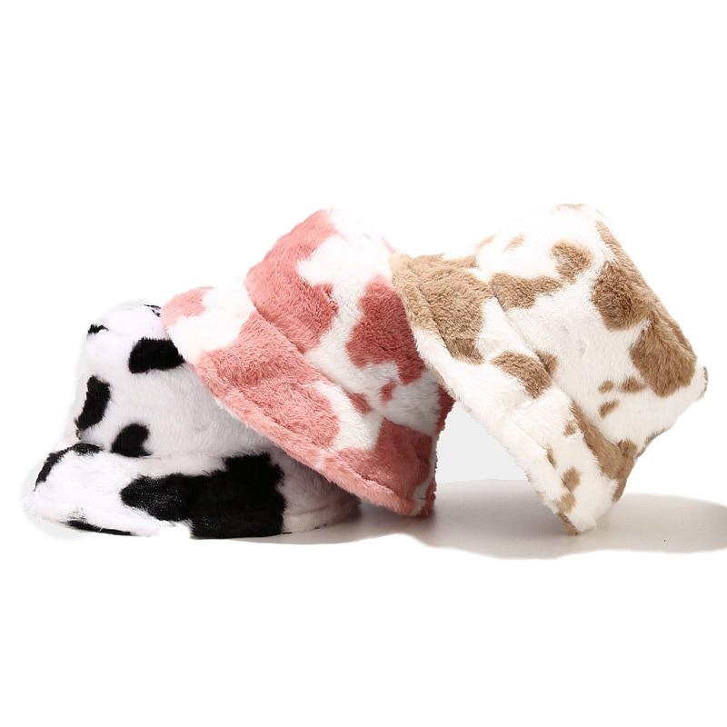 Autumn Winter Warm Hat Cow Pattern Fisherman Hat Women Korean Fashion Plush Thickened Warm Winter Hat Soft Fluffy Bucket Caps