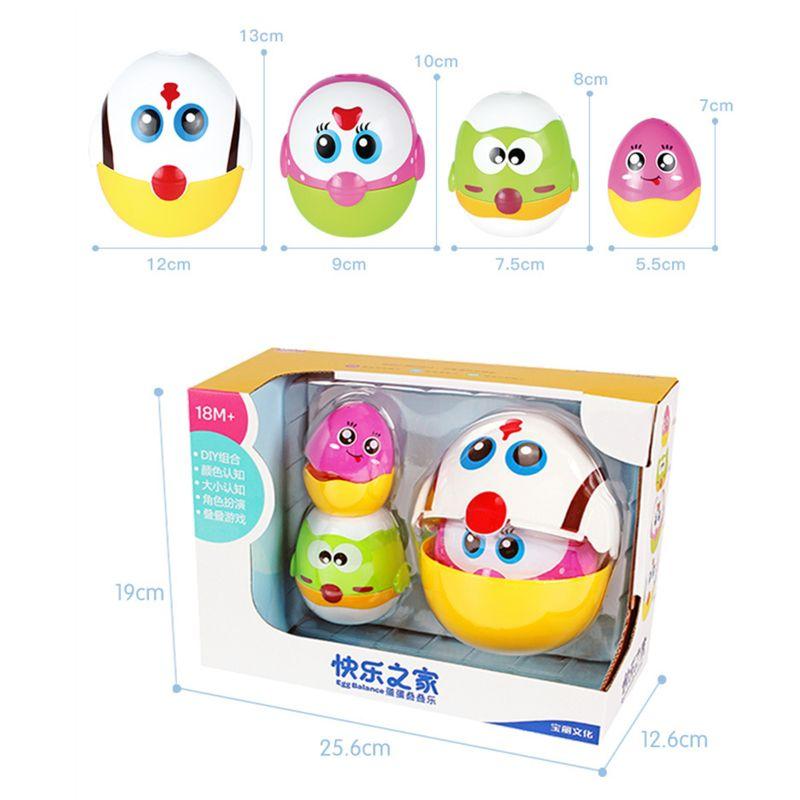 Brinquedos educativos ovo que nivela bonecas para a criança, aprendizagem pré escolar que empilham brinquedos para meninas do bebê e meninos - 6