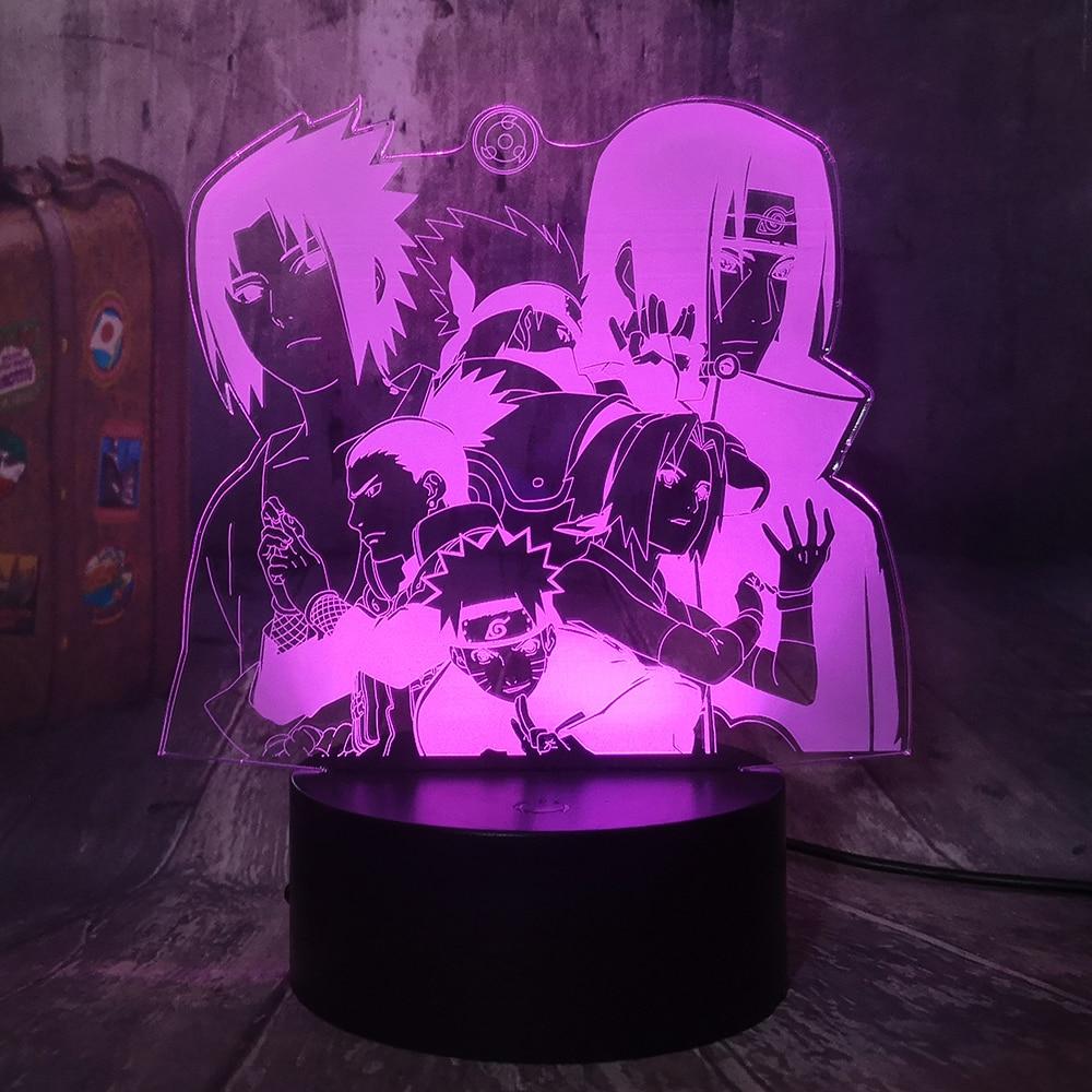 Naruto Anime Figure 3D Illusion Night Light Hatake Kakashi Uzumaki Naruto Uchiha Sasuke Haruno Sakura Nara Shikamar Remote Lamp
