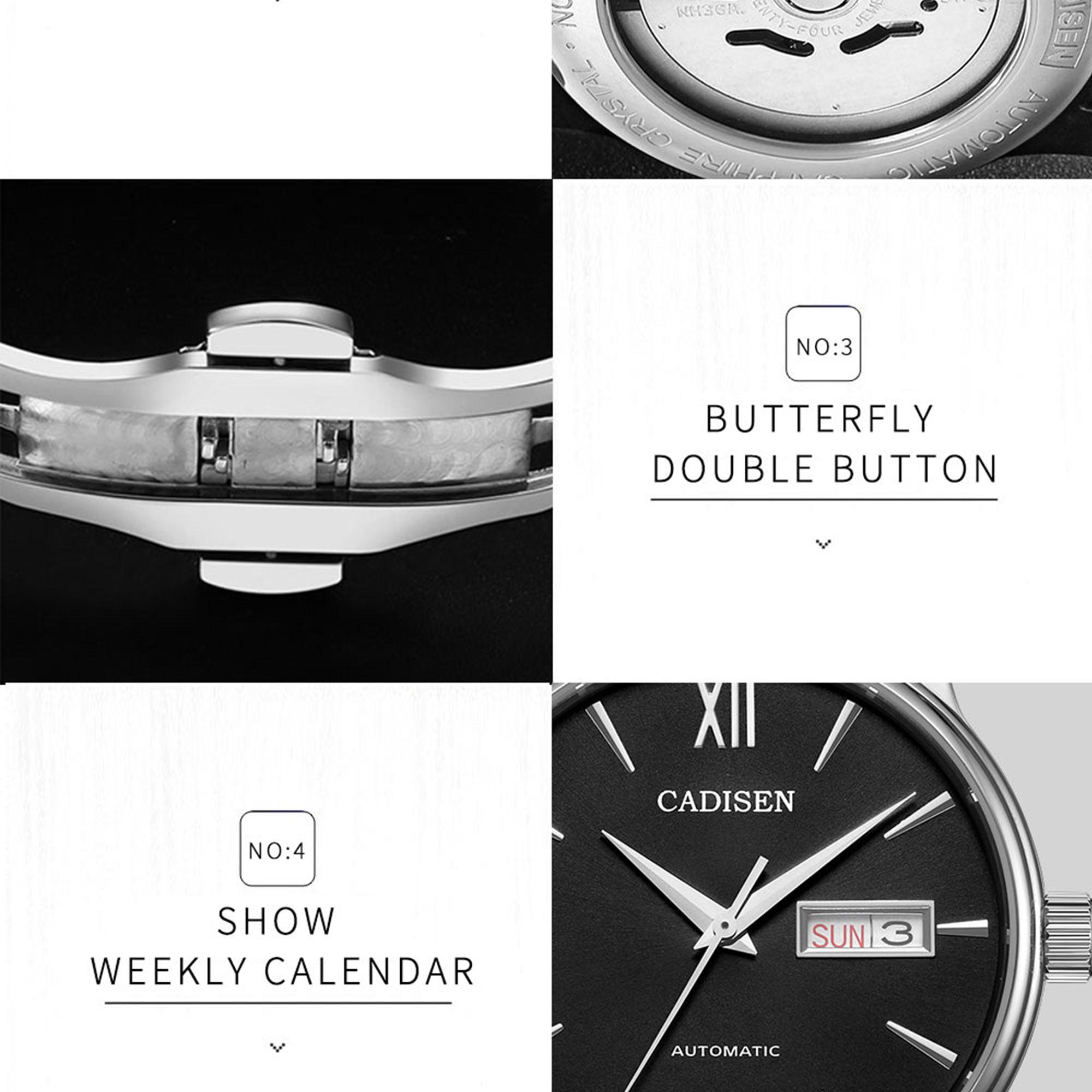 H25490c3716be458cba8bcb600101ce8dO CADISEN Men Watch Automatic Mechanical Watches Role Date Week Top Luxury Brand Japan NH36A Wrist watch Clock Relogio Masculino