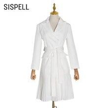Женское элегантное пальто sispell со шнуровкой бантом воротником