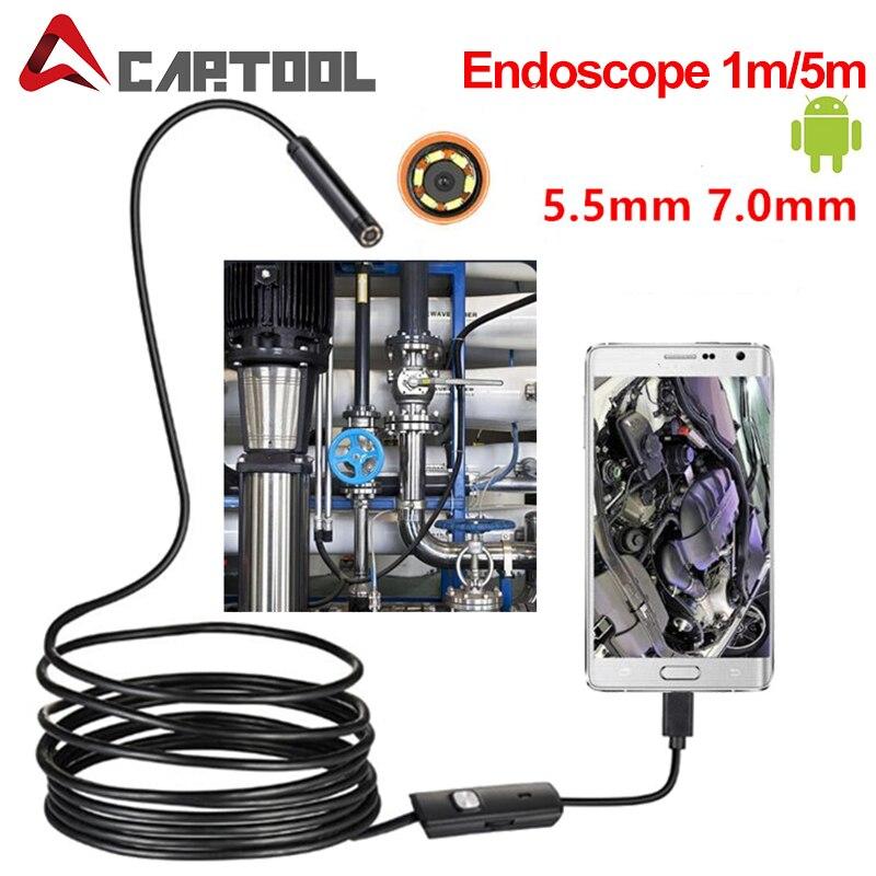 Cámara endoscópica 1M, 2M, 5M, 5,5mm, 7mm, IP67, boroscopio impermeable de 6 LED, cámara de inspección para automóviles para Android Loptop
