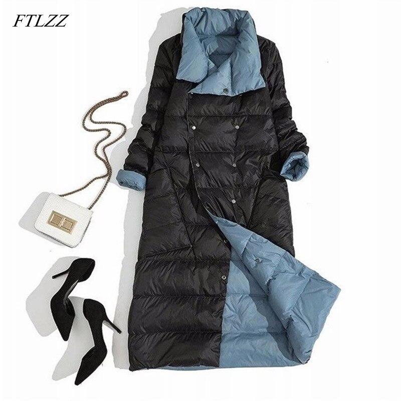 FTLZZ Women Double Sided Down Jacket Winter Turtleneck White Duck Down Coat Double Breasted Long Parkas Warm Snow Outwear