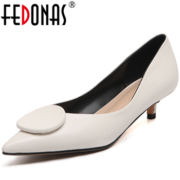 FEDONAS  2020 Spring New Arrival Elegant Concise Women Cow Leather Wedding Casual Pointed Toe Thin Low Heel Shallow Shoes Woman